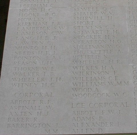 """H.H. Munro"" among the names of the war dead. (Photo credit: http://www.findagrave.com/cgi-bin/fg.cgi?page=gr&GRid=12293752)"