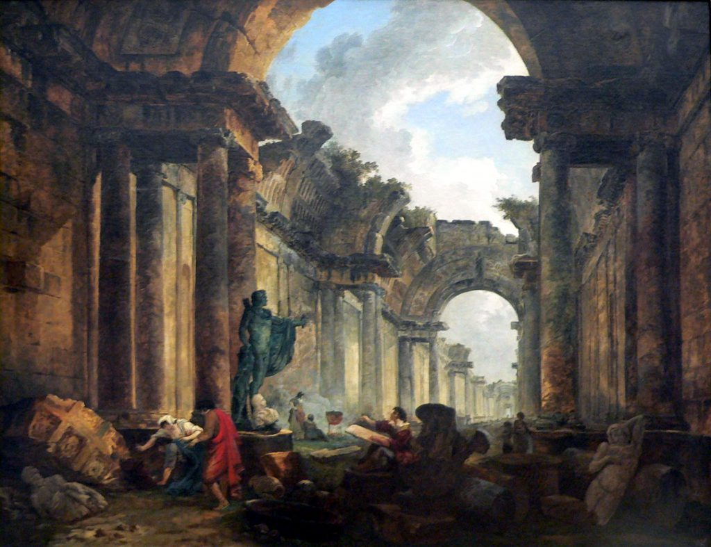 Vue imaginaire de la Grande Galerie du Louvre en ruines (Imaginary View of the Grand Gallery of the Louvre in Ruins) by Hubert Robert