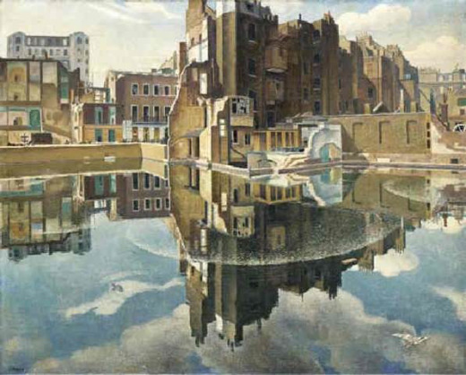 Static water at Cumberland Place by Adrian Allinson