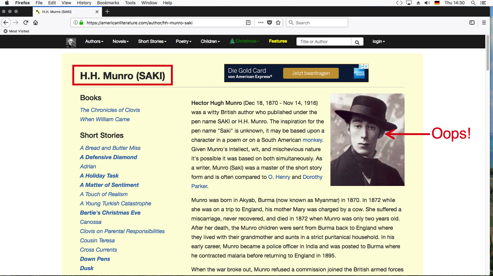 American website with wrong photo of H H Munro