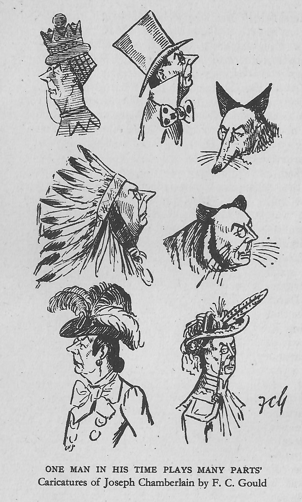 Caricatures of Joseph Chamberlain by F.C. Gould